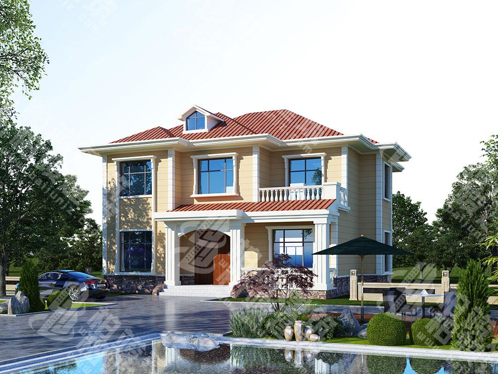 农村二层楼房设计,清新橘色系简欧风格,格局很通透