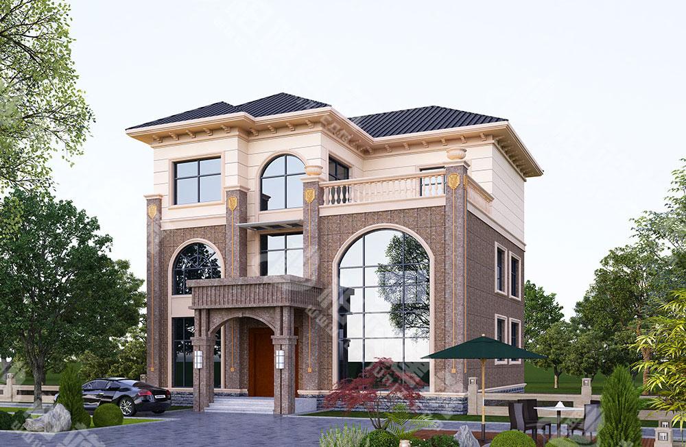 农村自建房设计图,三层简欧风格,外形恢弘典雅,带超高落地窗、电梯、烟囱