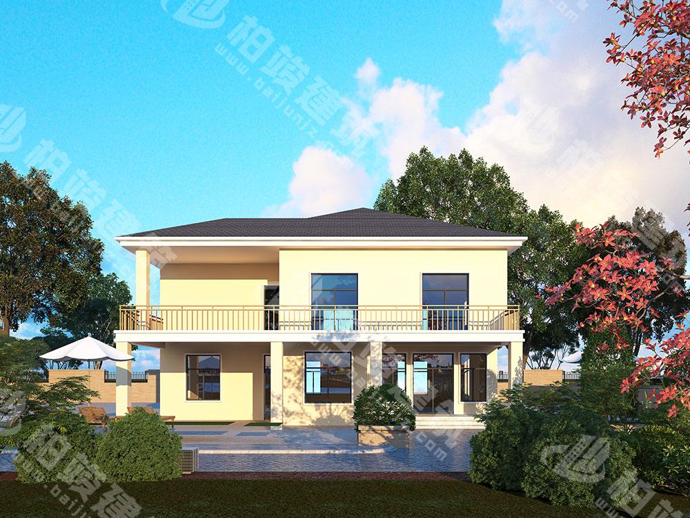 农村别墅设计图纸,二层简约现代风格,带超大露台、车库