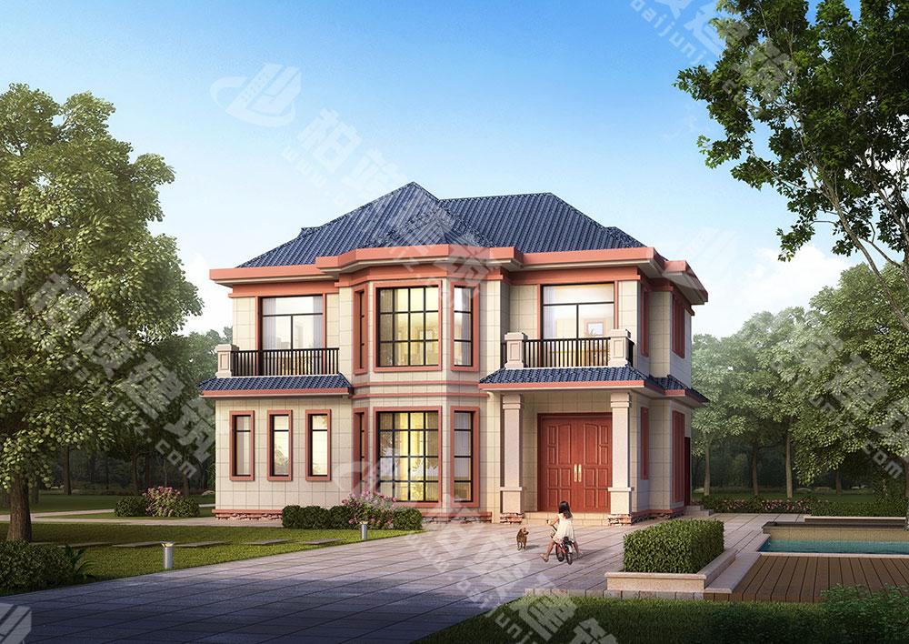农村二层小别墅设计,二层简欧风格,屋顶平坡结合,内部布局合理实用