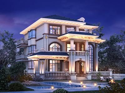 农村配电梯房建筑图纸,三层中式豪奢,定格优雅艺墅生活