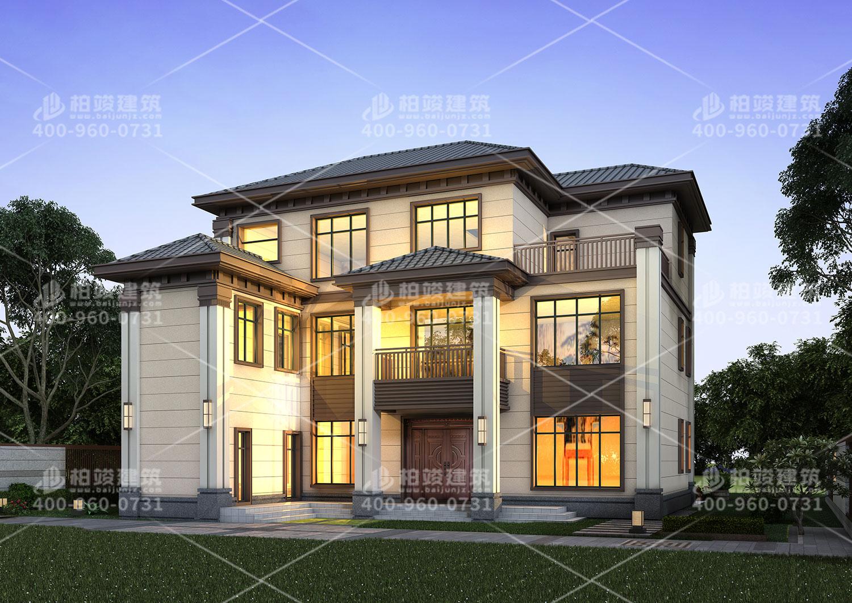 三层农村自建房设计图,带特色的外观让人喜爱。