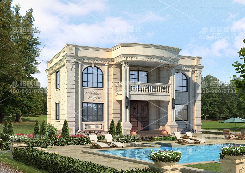 二层别墅设计效果图,带罗马柱。