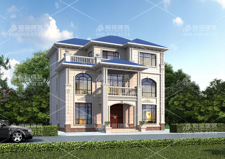 三层斜屋顶自建房效果图,带大露台享受阳光浴。