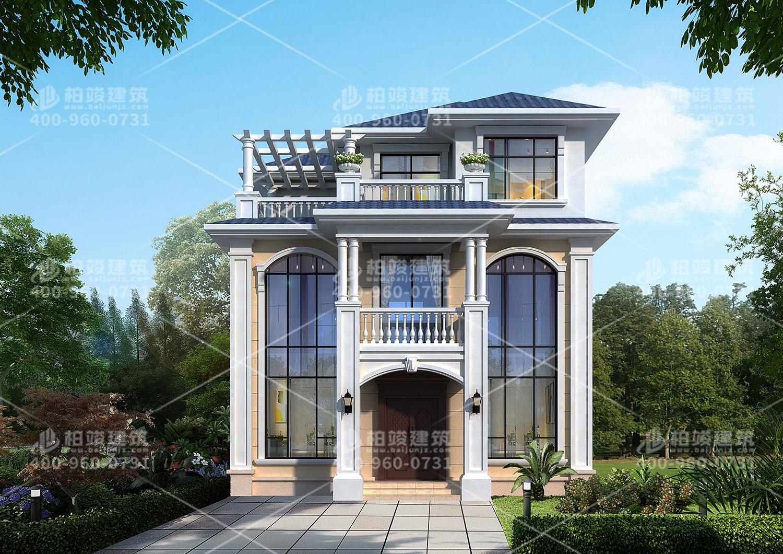三层欧式风格别墅效果图,斜屋顶带罗马柱。