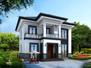 农村二层中式别墅设计施工效果图纸 造价20万BZ237-新中式风格