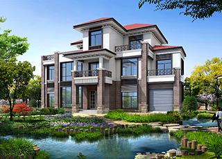 农村三层楼房设计图三层别墅图片,占地面积188平米BZ316-新中式风格