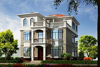 三层欧式带露台小别墅设计施工图纸及效果图