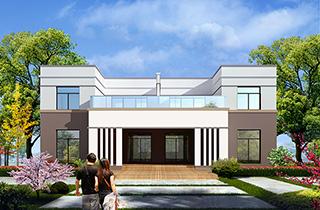 二层简洁现代双拼农村自建别墅设计图 施工图纸全套