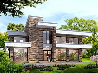二层农村现代别墅设计图纸,有娱乐室、健身房18x12米