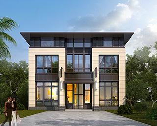 农村二层新中式别墅设计施工图及效果图 20X12米BZ246-新中式风格