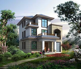农村三层带阳台自建房别墅设计图纸 造价25万