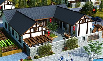 漂亮的农村一层小别墅设计图17X20米BZ108-新中式风格