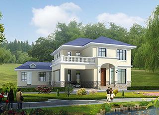 二层简欧农村别墅带双车库施工效果图纸全套 造价30万BZ263-简欧风格