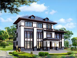 新中式三层带阳台复式房屋设计图纸及效果图BZ350-新中式风格