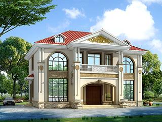 二层欧式新农村别墅自建房,乡村房屋设计图纸效果图