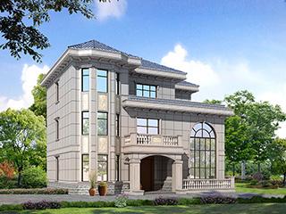 乡村欧式别墅三层复式别墅设计效果图及平面图BZ356-简欧风格