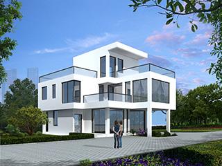 三层简洁现代风格农村别墅设计图 施工图纸全套