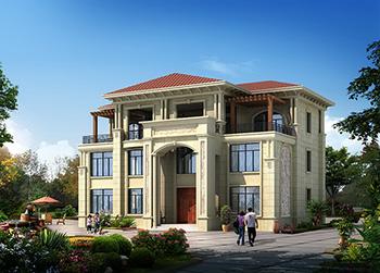 农村三层豪华欧式小别墅设计图BZ340-简欧风格