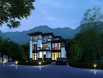 农村自建房新中式三层别墅设计施工图及效果图
