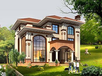 农村三层复式楼房设计图及效果图,复式砖混结构 造价30万BZ363-简欧风格
