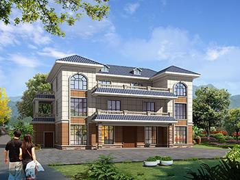 农村三层兄弟双拼欧式风格别墅设计图及效果图纸