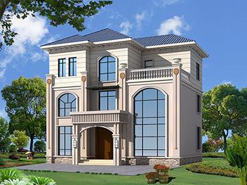农村三层欧式带旋转楼梯房屋设计图纸及效果图大全BZ376-简欧风格