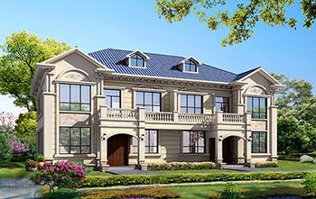 兄弟俩二层双拼别墅设计图纸 造价40万