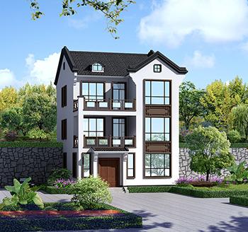 漂亮的三层中式带露台小别墅设计图纸及效果图BZ375-新中式风格