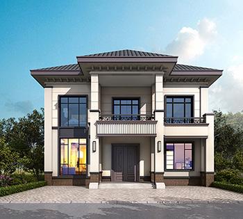 二层简欧风格农村小别墅设计图纸,带露台、柴火房