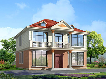 经典户型二层农村小别墅设计图,带阁格 造价30万内BZ282-简欧风格