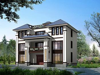 三层新农村180平方米房屋设计图纸,全套施工图及效果图BZ379-新中式风格