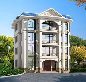 四层豪华欧式别墅自建楼房设计图纸,带效果图和全套施工图BZ407-简欧风格