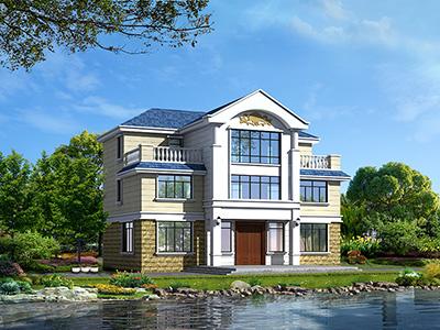 新农村自建三层楼房设计图纸,外观简单大方带露台BZ384-简欧风格