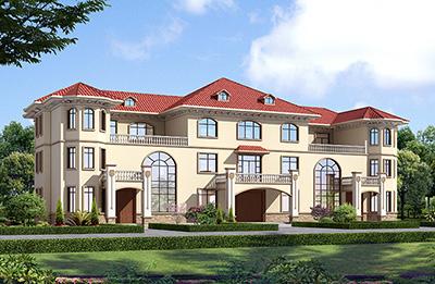 新款农村三拼三户别墅设计图及效果图三层户型,外观靓丽新颖