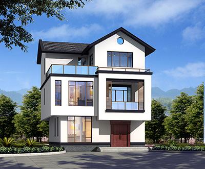 三层带露台中式实用型别墅设计图纸