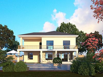 农村二层自建房屋设计图带堂屋、车库