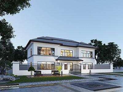 二层农村自建房全套图纸_别墅设计图纸BZ2001-现代风格