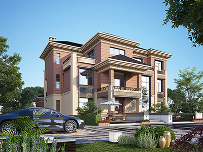豪华三层中式风格别墅效果图及施工图