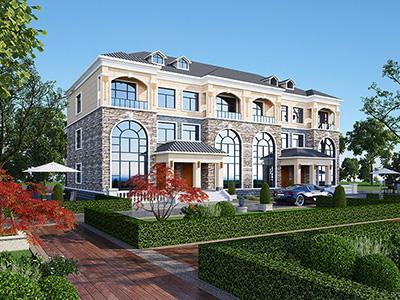 漂亮的欧式三层双拼私人别墅建筑设计图纸