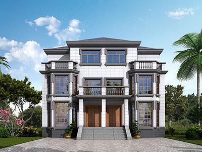 三层双拼别墅设计图纸及效果图 造价40万