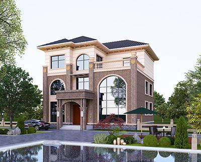 漂亮的三层带露台小别墅设计图纸及效果图 有电梯
