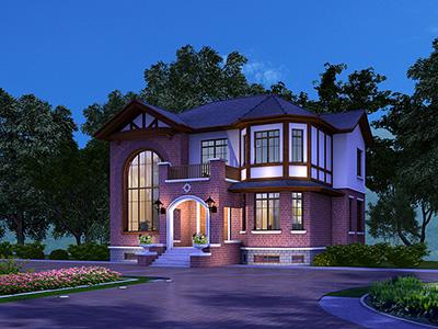 二层英伦风格新农村住宅自建房设计图及效果图