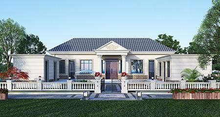 农村盖房设计大全一层房子的设计图纸,带漂亮的小院子BZ116-简欧风格