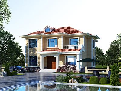 新农村二层带露台别墅设计图施工图纸 造价25万