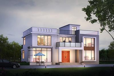 农村自建房乡村超现代平屋顶二层别墅图设计方案