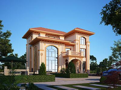 精品欧式三层农村复式别墅设计图 造价25万