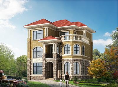 农村欧式25万豪华独栋三层复式别墅设计图纸