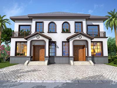 二层新欧式双拼别墅设计图纸15x12米
