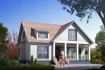 美式风格一层农村别墅设计图效果图,带阁楼设计